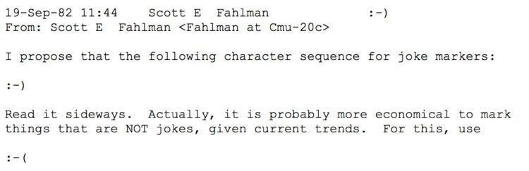 Scott Fahlman emoticon useage