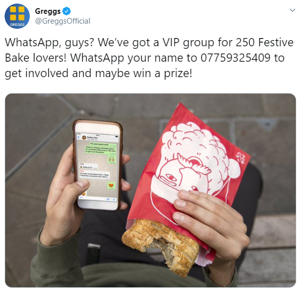 Greggs WhatsApp group for Festive Bake