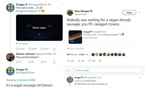 Greggs vegan sausage rolls community management