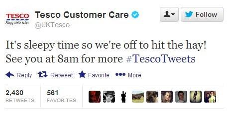 Tesco 'hit the hay' tweet