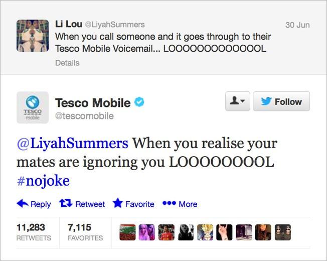 Tesco Mobile Twitter customer service