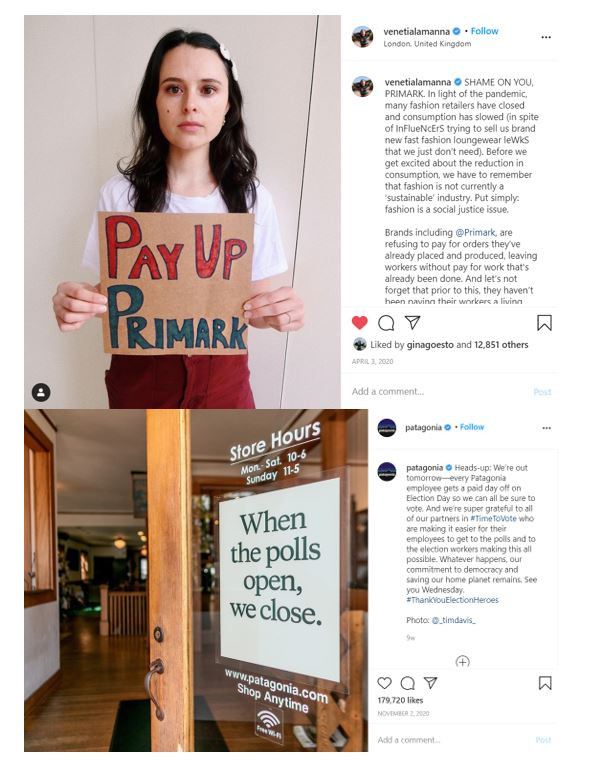 Social media activism posts on Instagram - one asking Primark to pay workers, and one from Patagonia saying they will be closed election day to encourage voting