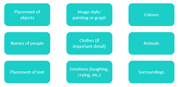 List of what could be useful to show in alt text: such as placement of objects, image style, colours, names of people, placement of text, and surroundings