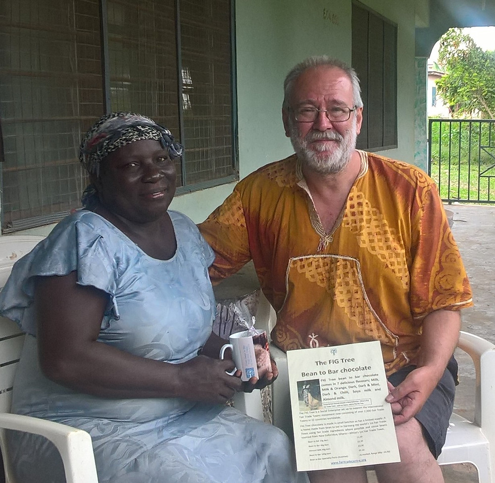 Presenting FIG Tree chocolate to Patricia, New Koforidua cocoa farmer who grew the beans in the chocolate 2019