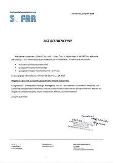 Referencje wystawione przez firmę Sofar Sp. z o.o. dla Pracowni Projektowej DOMUS Łukasz Czyz