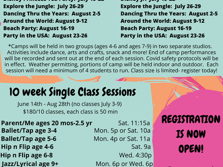 Summer 2021 Camp and Class options