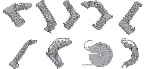 Differents monte escaliers tournants