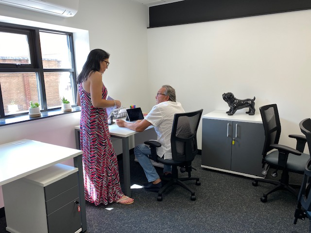 Havelock Hub Office Woman and Man talking
