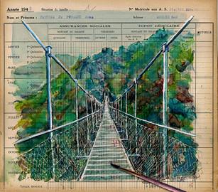 Un jour, un dessin La Passerelle nouveau paysage  Aquarelle sur registre d'usine Feuille de sala