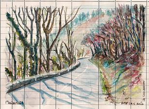 Un dessin par jour. Mazamet, route de Carcassone. Aquarelle, encre 18x12,5 cm