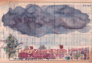 Un jour, un dessin 20h un orage se prépare ! 23h38 il est passé !  OUF pas de grêle !