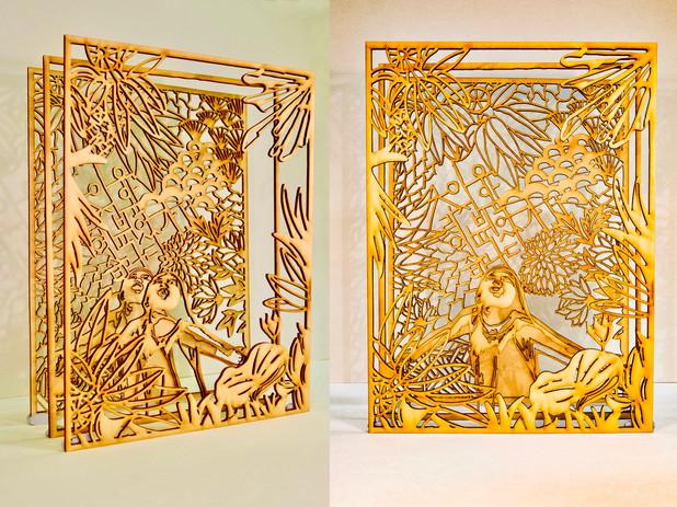 "Untitled Artwork 2, Lora Oh, digital drawing laser cut onto wood, ""8 x 11"""