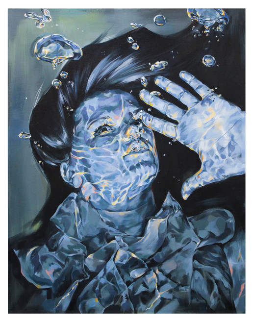 "Underwater, Joy Kim, acrylic paint, 24"" x 30"""