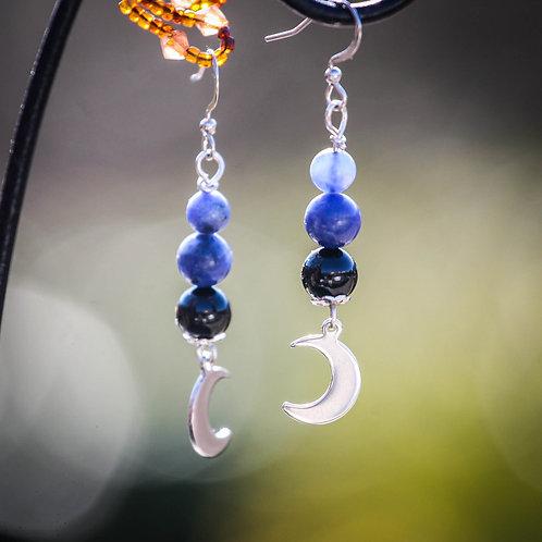 Sodalite et Onyx avec demi lune - Acier inox