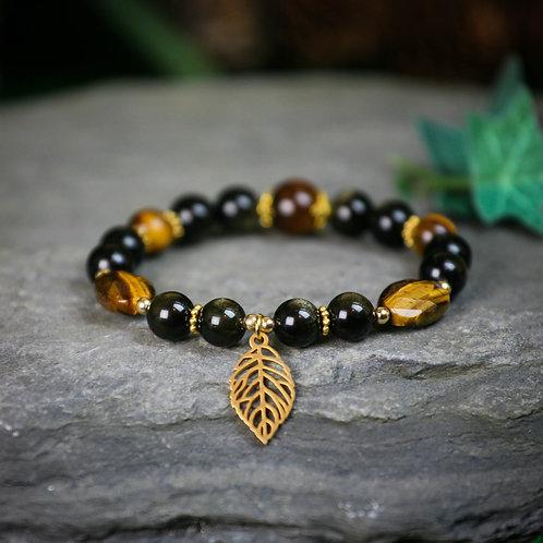 Anti-Caliméro, courage et protection I Obsidienne dorée et oeil de tigre