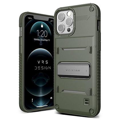 "VRS Design iPhone 12 iPhone 12 Pro 6.1"" Quickstand Green Metal Black Illustration"