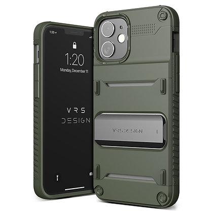 "VRS Design iPhone 12 mini 5.4"" Quickstand Green Metal Black Illustration"
