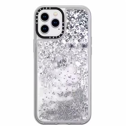 """Casetify iPhone 12 Pro Max 6.7"""" Glitter Case, Monochrome Silver"""