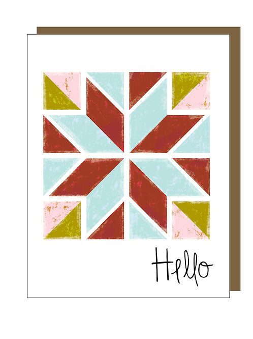 Barn Quilt Gift Card - Hello
