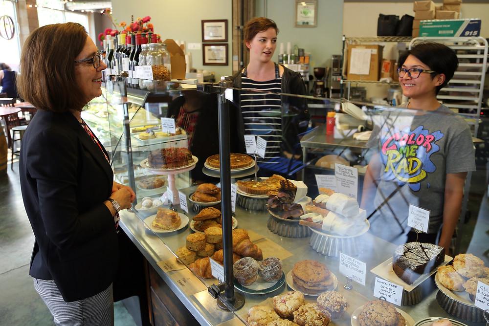 Oregon governor Kate Brown visits Eugene