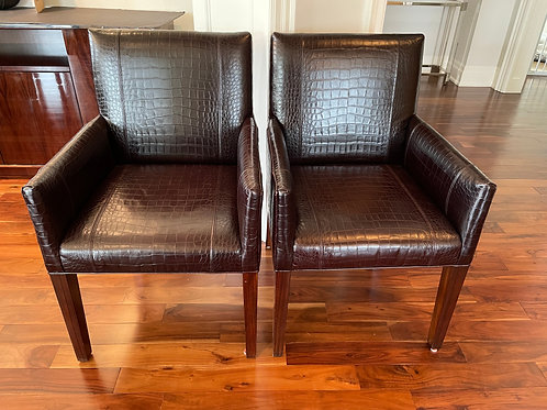Lot 43 Pair Leather Chairs