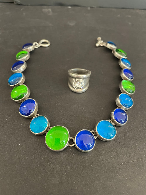 Lot 57 - Green/Blue Sterling Necklace, etc...
