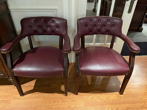 Lot 33 - Pair Faux Leather Chairs
