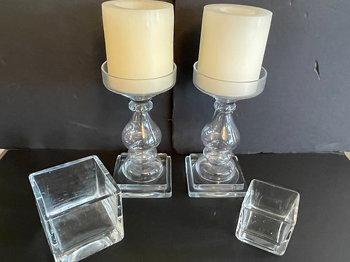 Lot 4 - Four Glass Candle Holders
