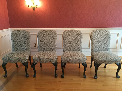 Lot 129 - Set of 4 Sage Green Chairs