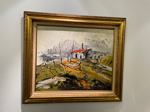 Lot 8 - Oil Painting Red Roof