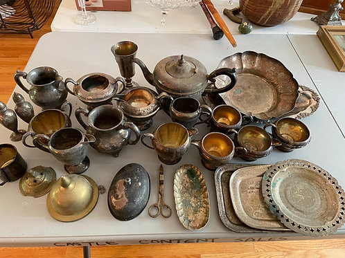 Lot 11 - Assortment of Silver Plate & Metal Pieces