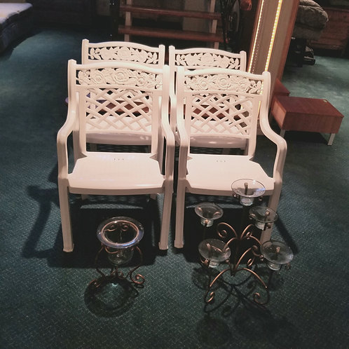 Lot 100   Four Resin Chairs, etc...