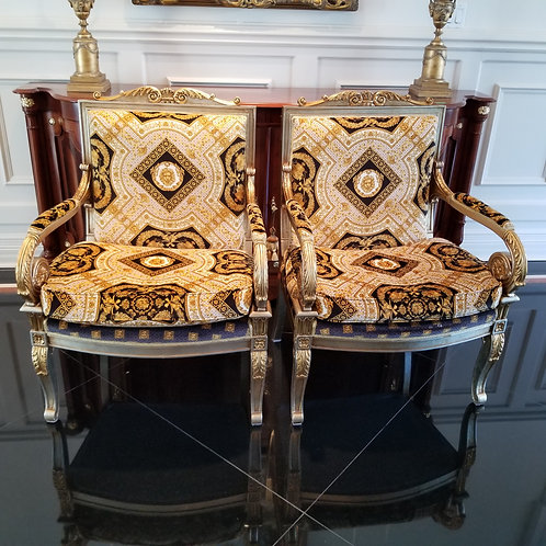 Lot 50 Pair of Versace-Style Chairs