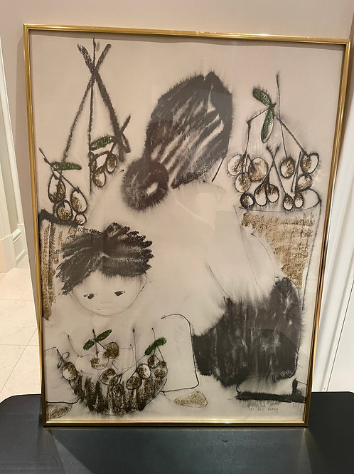 Lot 55 - Charcoal Drawing/Mother & Child