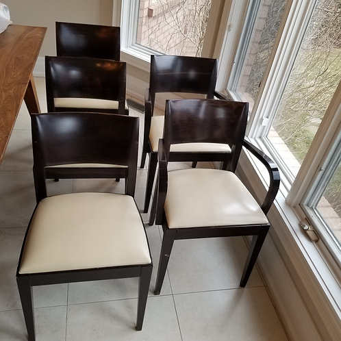 Lot 74  Five Walnut & Leather Chairs