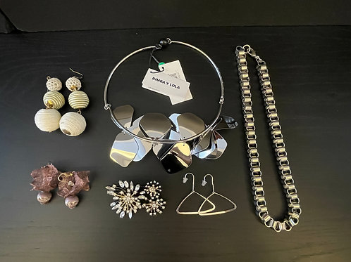 Lot 64 - Two Silver Tone Necklaces, etc...