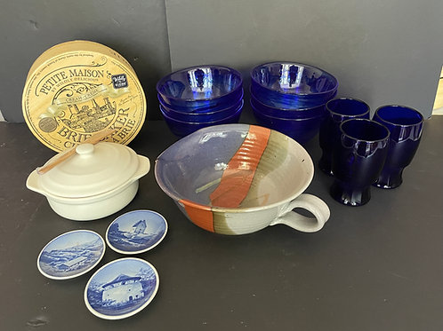 Lot 73 - Blue Glass Dishes, etc...