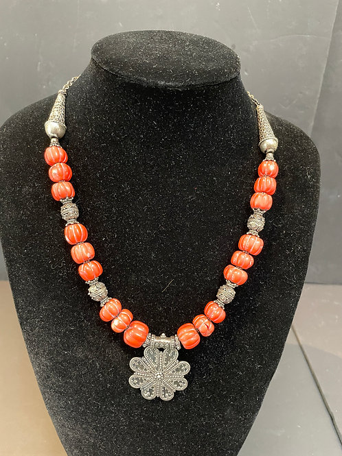 Lot 77 - Silver & Coral Necklace
