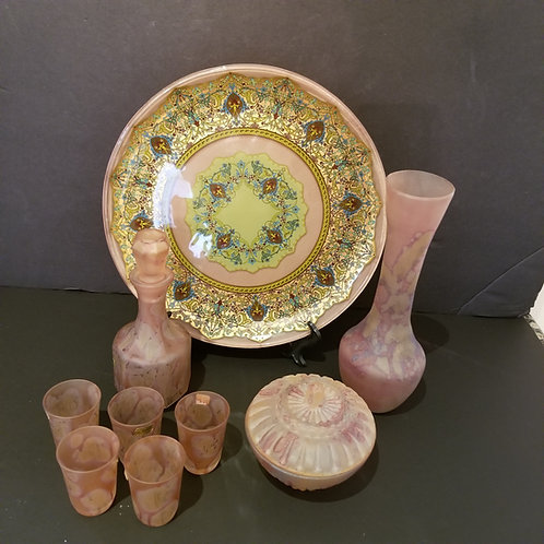 Lot 51 Pink Israeli Glass Pieces & Plate