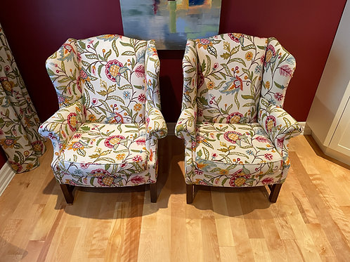 Lot 32 - Pair Embroidered Chairs