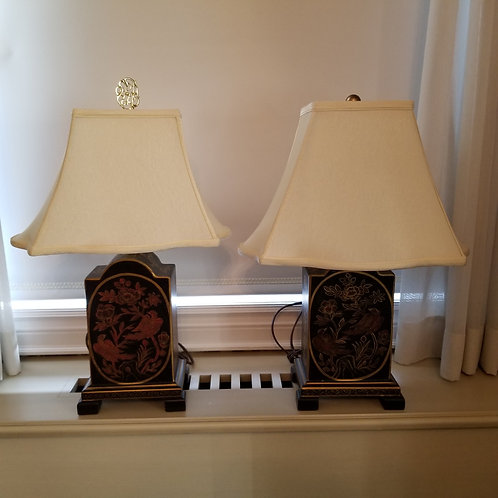 Lot 100 - Pair of Lamps/Ivory Shades