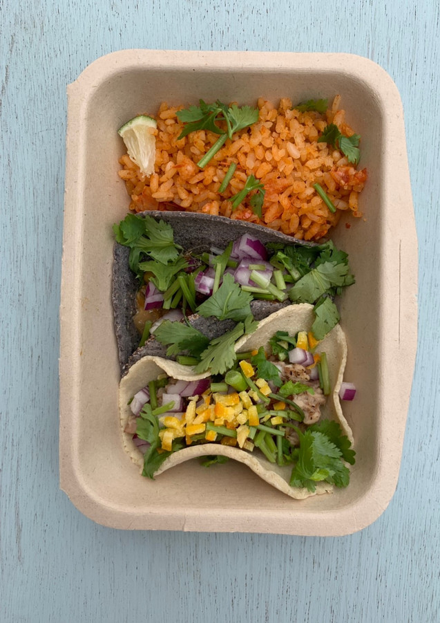 Tacos and mexican rice set