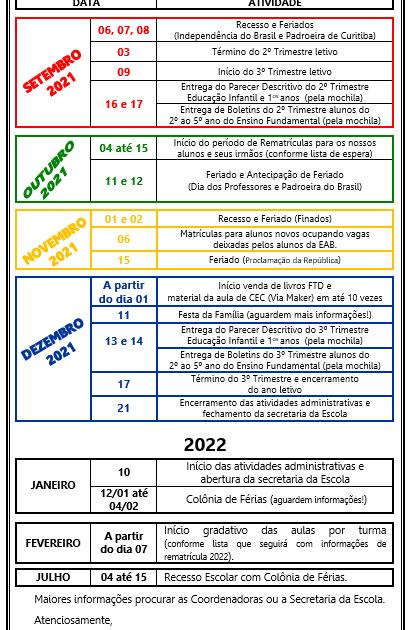 BILHETE INFORMAÇÕES 2º SEMESTRE - 2021