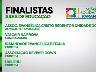 Irmandade Betânia está entre as cinco finalistas na área de educação do prêmio Ação Solidária Paraná