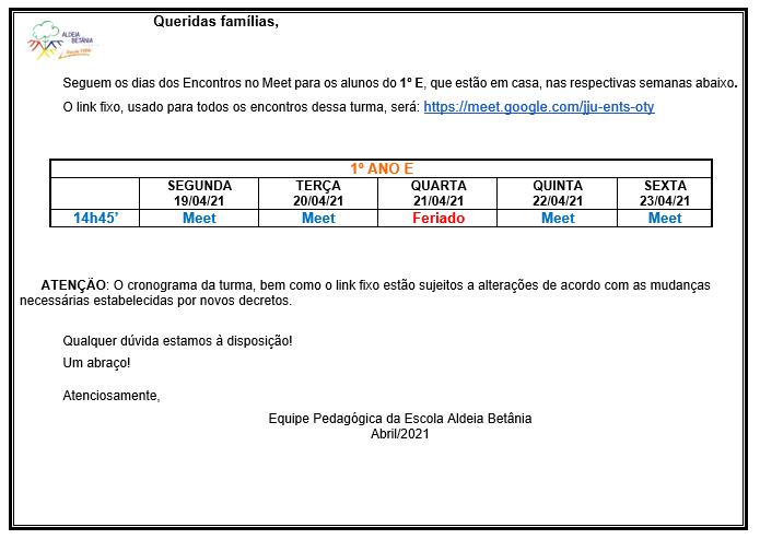 Links do Google Meet