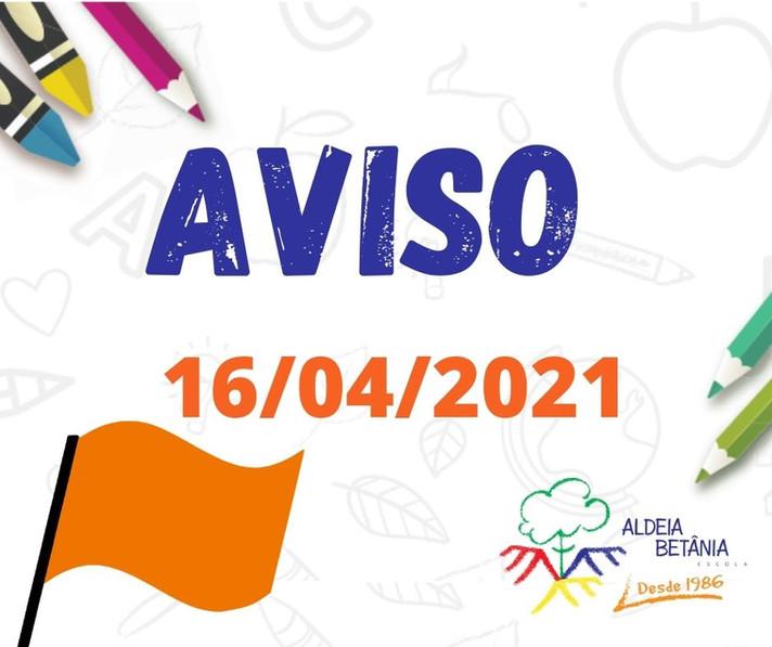 Comunicado aos pais - Ensino Fundamental - 16/04/2021