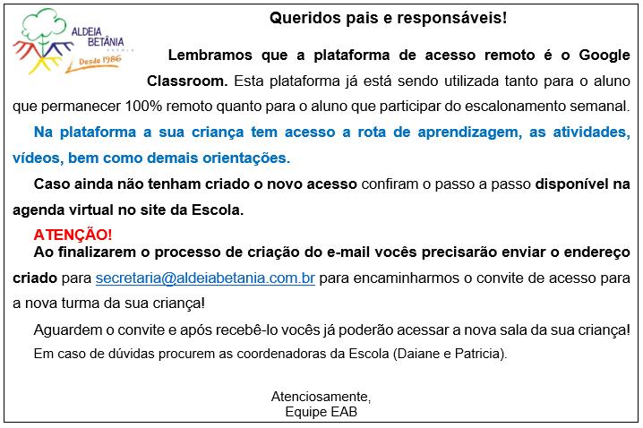 Lembrete de abertura do Google Classroom