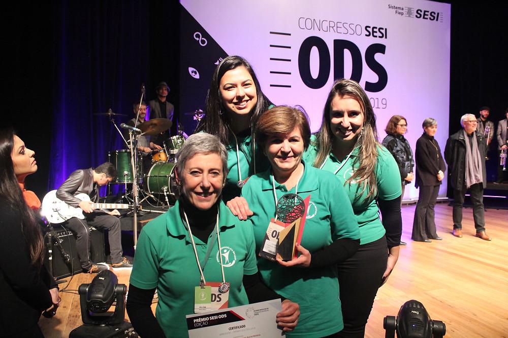 Prêmio Sesi ODS e os outros Selos também ganhados na premiação.