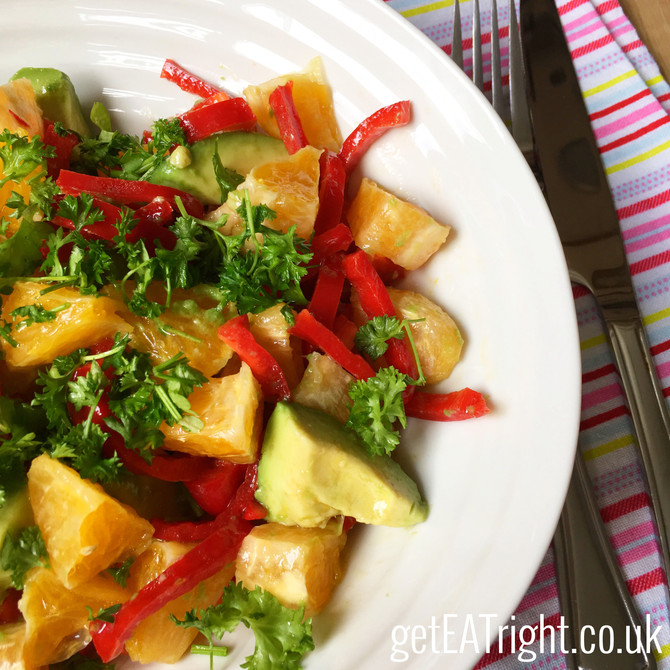 AVOCADO AND ORANGE SALAD Ready in 5 minutes! (Paleo/ Vegan / Gluten free/ Dairy free)