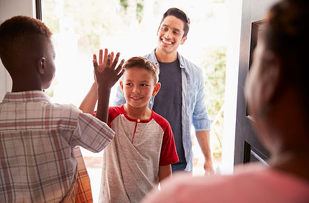 Social Distancing And Relationships Dad Dropping Off Kids, social distancing and relationships, COVID-19 divorce, COVID-19 relationship strain, coronavirus and relationships, coronavirus relationship strain